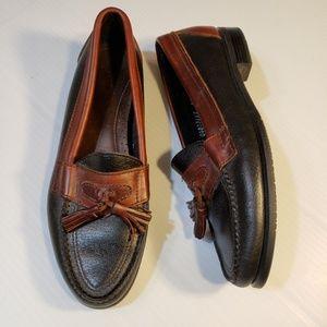Bass Leather Tassel Loafers Black Brown sz 6 5N